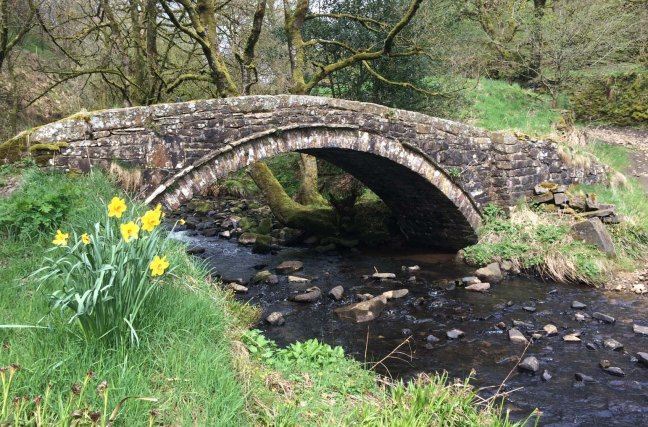 The packhorse bridge over the River Dove near Tenterhill, Buxton