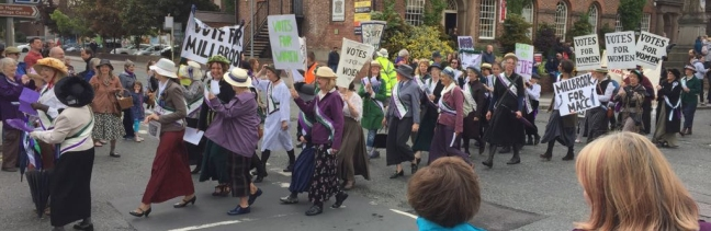 Suffragetter at Barnaby Parade - part of Barnaby Festival 2018, Macclesfield
